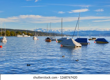 Boats on Lake Zurich in Switzerland in the evening of a sunny day at the middle of autumn, summits of the Alps in the background - view from the city of Zurich.