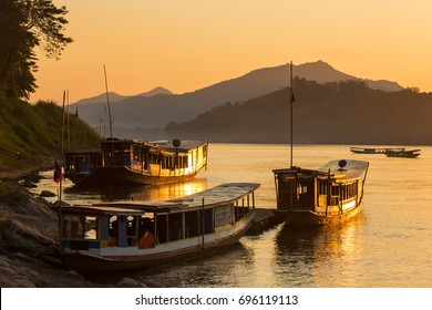 Boats on the Mekong river, Luang Prabang, Laos