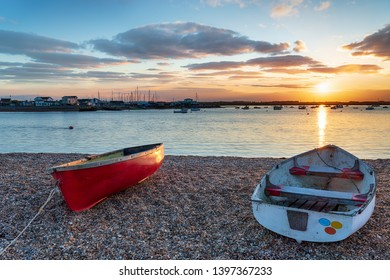Boats on the mouth of the river Deben at Bawdsey near Felixstowe on the Suffolk coast
