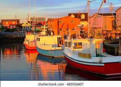 Boats on Peggy's Cove Village in Nova Scotia