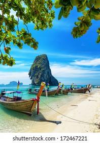 Boats on Phra Nang beach, Thailand.