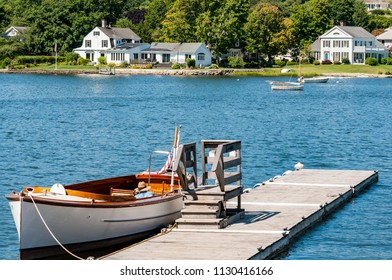 Boats on a pier in Camden, Maine New England in America