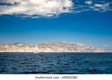 Boats on purely clear water on National Parc of Calanques at Riou Islands, Marseille