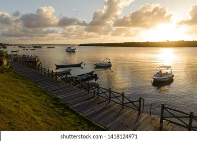 Boats on the river, beautiful sunset, Aracaju, Sergipe, Brasil