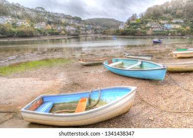 Boats on the river between Noss Mayo and Newton Ferrers Devon in HDR