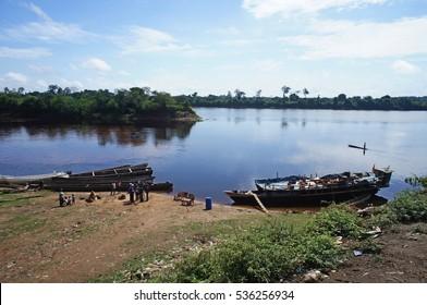 Boats on the River Congo in Republic of the Congo (Congo Brazzaville)