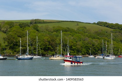 Boats on the River Dart Devon between Dartmouth and Totnes England UK
