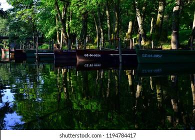 Boats on the river krutynia in Poland -  Masuria