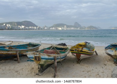 Boats on the sand in front of Posto Six Fishermen's Colony, Copacabana, Rio de Janeiro