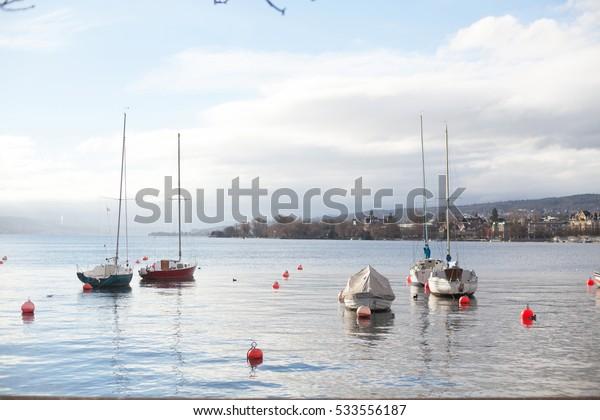boats on sea, winter
