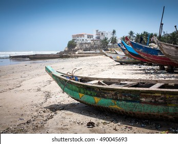 Boats on the seashore in Accra, Ghana