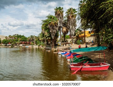 Boats on the shore of the Huacachina Lake, Ica Region, Peru