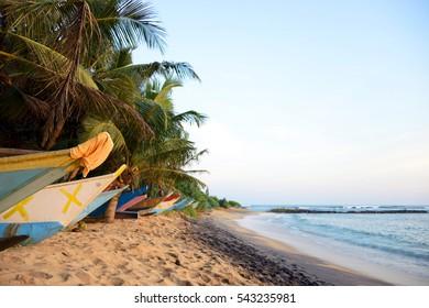 Boats on a tropical beach at sunset, Mirissa, Sri Lanka