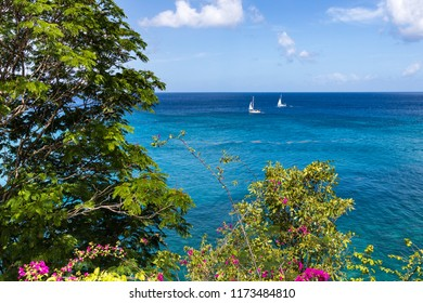Boats on the water in the Caribbean Sea