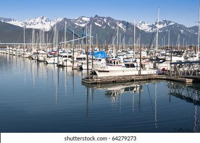 Boats at a pier in Seward, Alaska