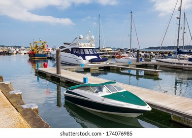 Boats in Poole Harbour Dorset England UK Europe