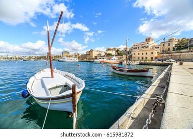 Boats in a port of Alghero, Sardinia, Italy