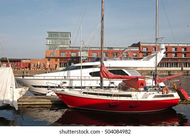 boats in the port of Luebeck, germany