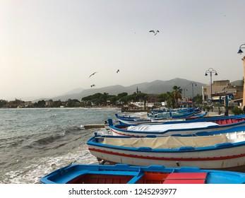Fishermen's boats at the port of Mondello, Palermo, Sicily