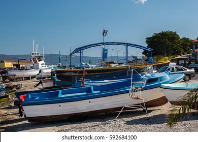 Boats in the port of Nessebar, Bulgaria.