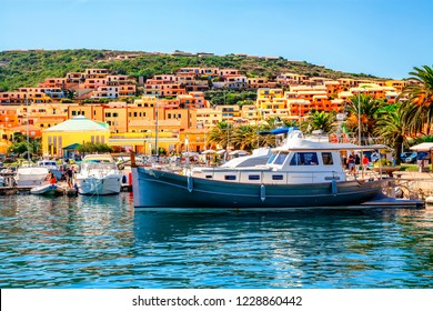 Boats in the port of Palau province of Sassari in the Italian region Sardinia, Italy.