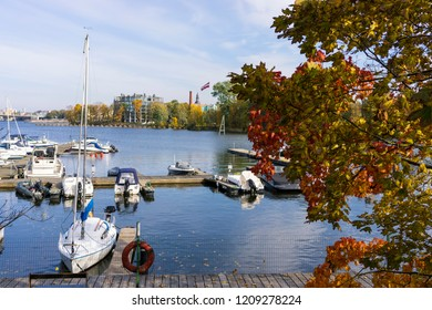 Boats in the port of Riga in autumn