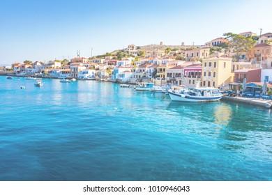 Boats in port of town Emporio (Nimborio)  - capital of island of Halki (GREECE)