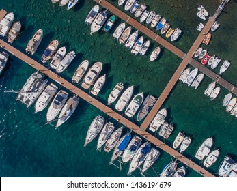 Boats in a port. View from above with drone