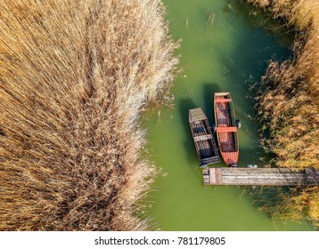 Boats in the reed from above