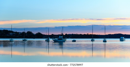 Boats and Reflections on the Bay -  Sunrise at Koolewong Foreshore, Koolewong, Central Coast, NSW, Australia
