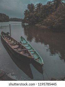 Boats in the river bed