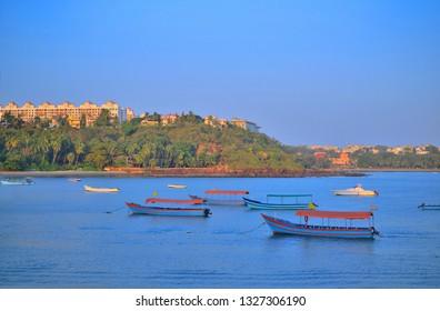 Boats sailing at Dona Paula view point in Panaji, Goa.
