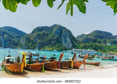 Boats at sea against the rocks in Thailand. Phi Phi Island