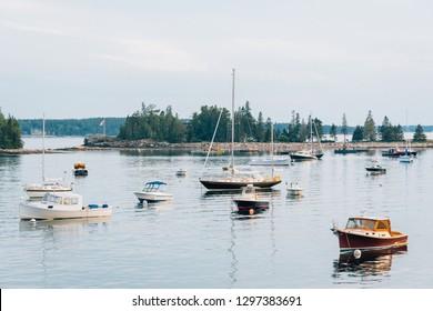 Boats in Seal Harbor, on Mount Desert Island, Maine
