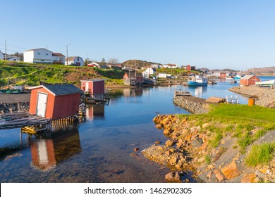 Boats and sheds in the harbor of Farmers Arm near Jenkins Cove, Newfoundland, Canada