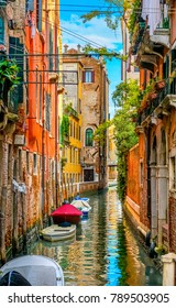 Boats Skiffs Colorful Small Canal Buildings Reflections Venice Italy
