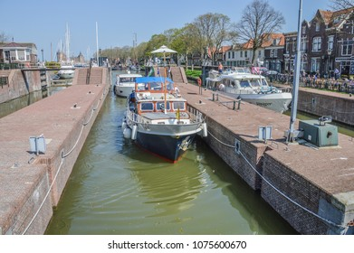 Boats At The Sluice Gate At Muiden The Netherlands 2018