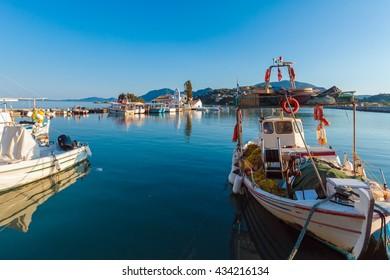 Boats in small harbor near Vlacherna monastery, Kanoni, Corfu, Greece