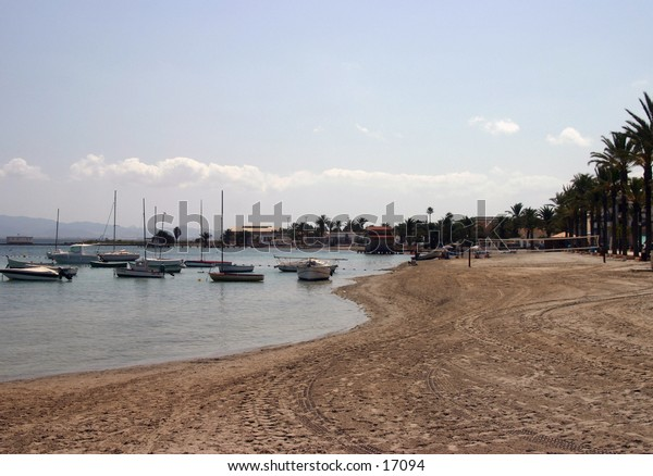 boats in the small marina in spain
