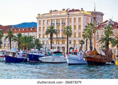 Boats in Split waterfront view, Dalmatia, Croatia
