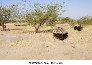 Boats stranded in the desert, Little Rann of Kutch, Gujarat, India. During the summer this area is flooded and fishing takes place in the dry winter months salt production is carried out.