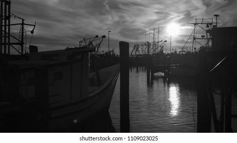 Boats at Sunset in Biloxi