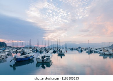 Boats at sunset in Lerici (La Spezia, Italy)