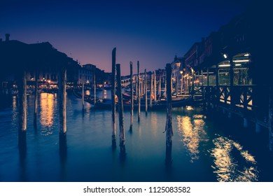 boats at sunset in Venice