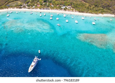 Boats and tropical beaches with clear water British virgin islands