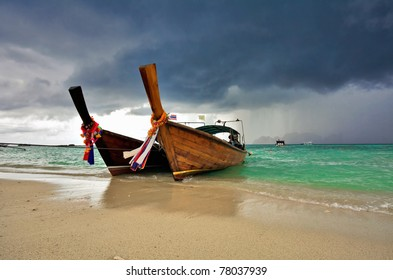 Boats in the tropical sea before storm. Phi Phi island. Thailand