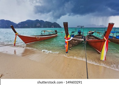 Boats in the tropical sea under blue sky. Thailand