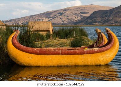 Boats in the Uros Floating Islands in Lake Titicaca, Peru.
