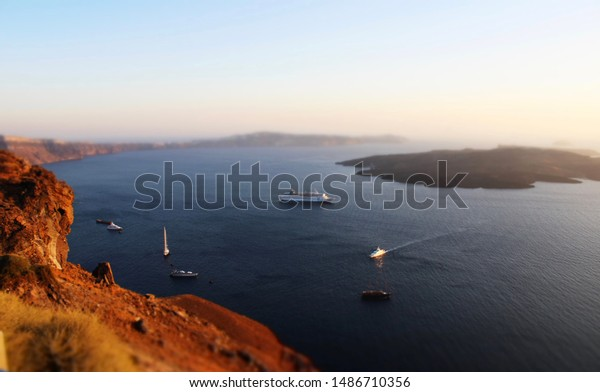 Boats Volcano Caldera Firostefani Santorini Greece Stock