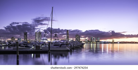 Boats and Yachts in a Bay Overlooking Southport During a Peaceful Sunset, Main Beach, Gold Coast, Queensland, Australia